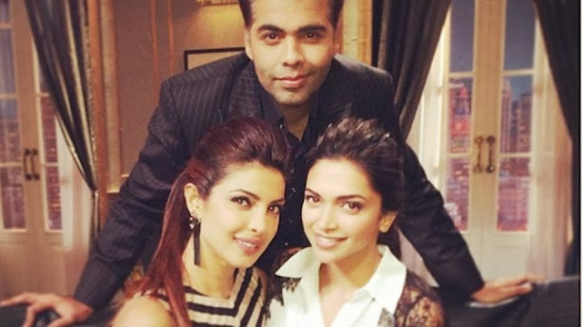 Priyanka Chopra and Deepika on the sets of Koffee with Karan