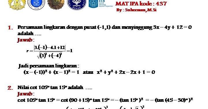 Pembahasan Sbmptn 2013 Mat Ipa Kode 437 1000 Soal Matematika Uan Snmptn Simak Ui
