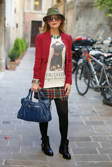 Bloggers do it better blouse, Balenciaga City bag, plaid minskirt, Fashion and Cookies, fashion blogger
