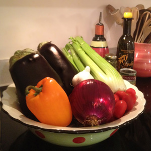 Image of some fresh ingredients for Caponata
