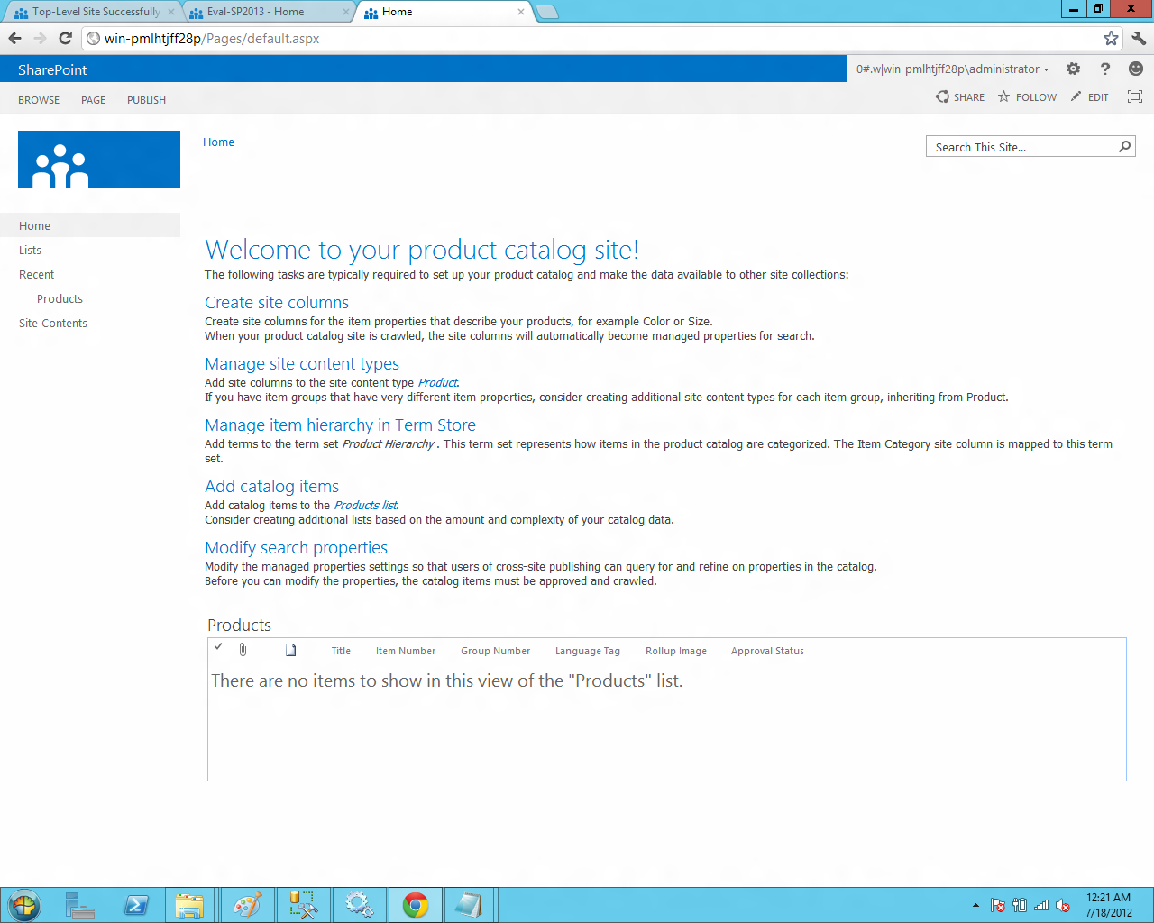 Bharath tech update installing sharepoint server 2013 as stand new site product catalog site template long way to click and explorearepoint 2013 maxwellsz
