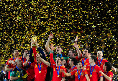 spain was the winner from the football teams in the world cup last year