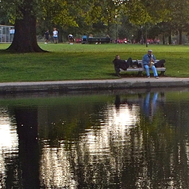 Sax player on Clapham Common helps blow away autumn blues with some great John Coltrane phrases
