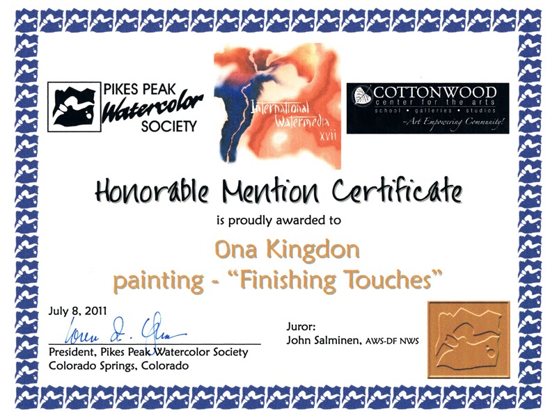 honorable mention certificate