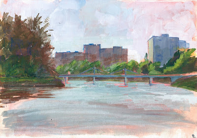 Gouache river study by Gregory Avoyan