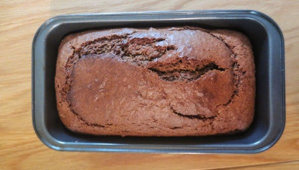 sweet potato loaf cake in a tin