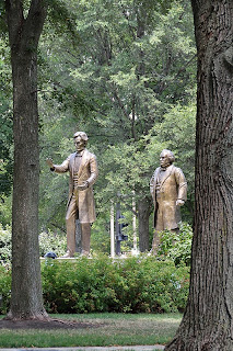 Lincoln and Douglas statues in bronze at Washington Park in Ottawa, Illinois