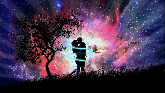 hình ảnh về tình yêu đẹp lãng mạn dễ thương, 2 người ôm hôn nhau dưới trăng