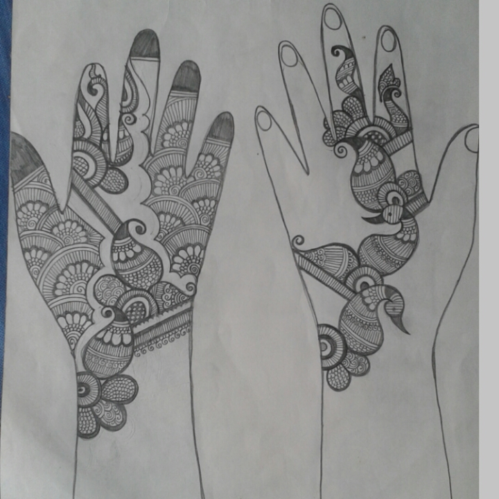 pencil sketch of mehndi designs crafts and cooking
