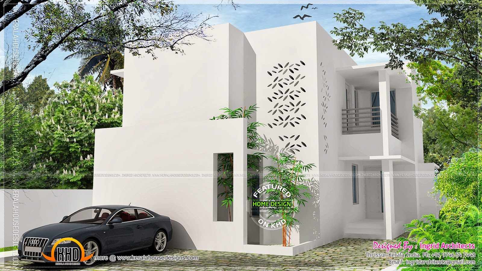 Simple contemporary modern house kerala home design and for Simple modern house