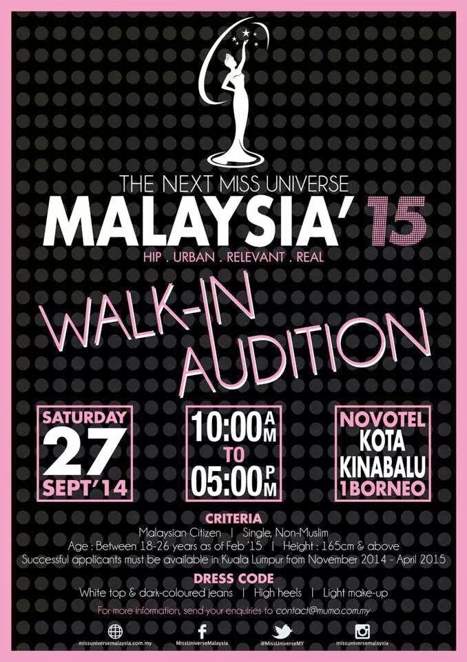 MISS UNIVERSE MALAYSIA 2015 OPEN AUDITION!