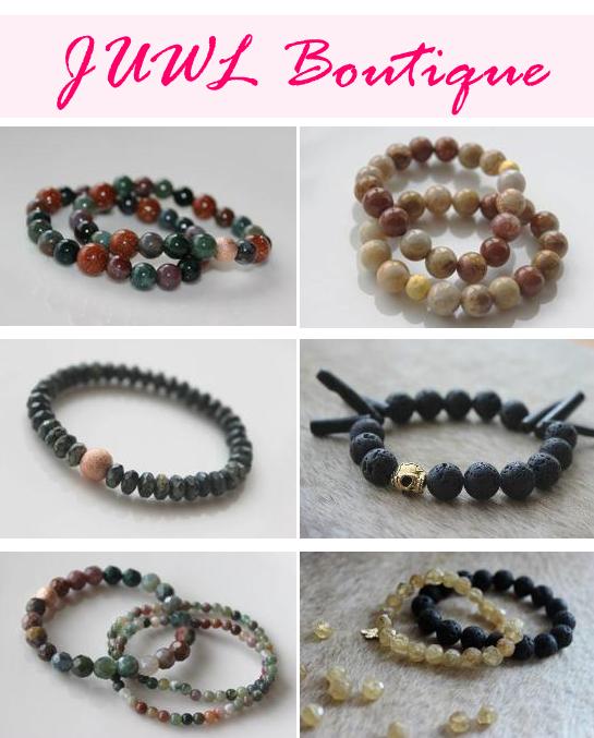 JUWL Boutique, bracelets, semi-precious stone bracelets, unique bracelets, white sponge agate, sand stone, indian agate. green malachite, lilac agate