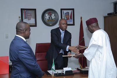 Senate President Bukola Saraki receives Ministerial List.