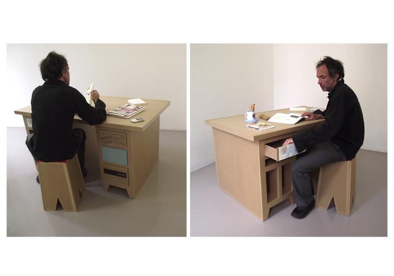 bureau en carton. création sur mesure. fabriqué à marseille par juliadesign.