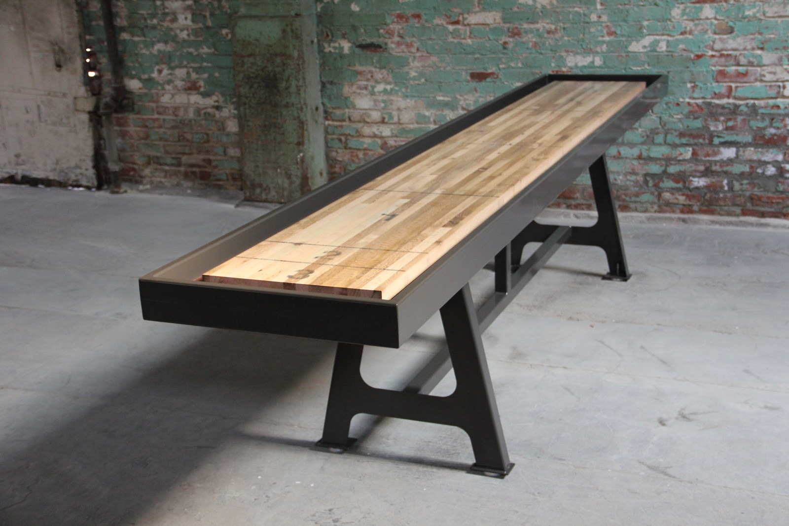 This Is Really An Impressive Table. District Millworks Out Of Los Angeles  CA, Is Hand Making Custom Shuffleboard Tables From Reclaimed Oak Set On  Steel With ...