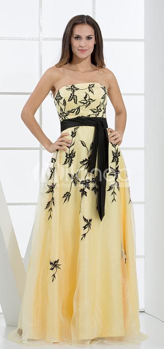 Jonquille A-ligne bretelles en dentelle Ceinture Applique étage Net longueur robe de soirée pour femme