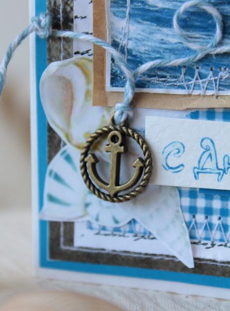морская открытка, парусник, якорь