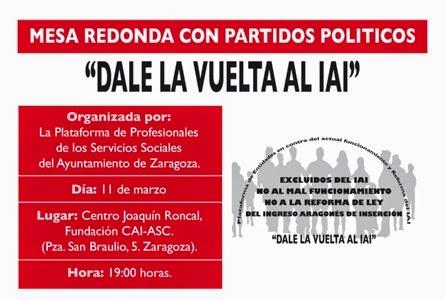 Mesa partidos políticos ingreso aragones de inserción contra el proyecto de ley