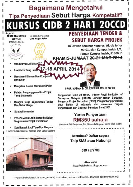 Kursus CIDB 2 Hari 20 CCD 17-18 April 2014 Penyediaan Tender & Sebut Harga Projek