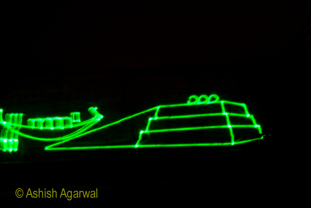 Laser light on the Great Sphinx, as part of the Sound and Light show