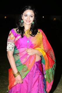 Malavika Nair cute beauty in colorful Saree