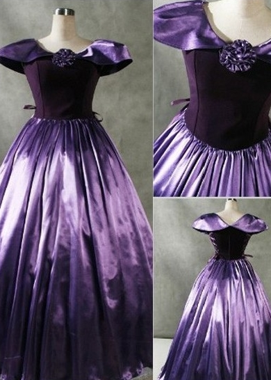 Aristocratic Purple Cap Sleeves Gothic Victorian Dress