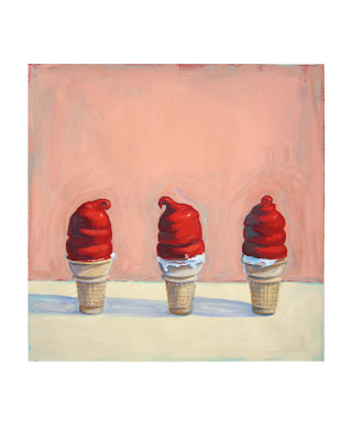 painting of three soft serve cherry dipped cones