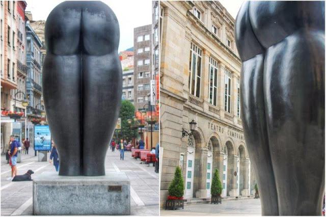 Escultura Culis Monumentalibus de Eduardo Urculo frente al Teatro Campoamor en Oviedo