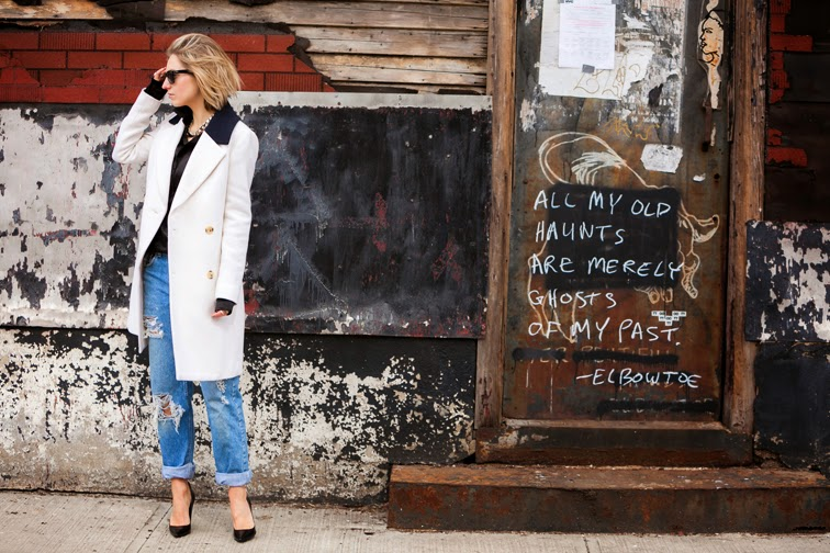 White J.Crew coat, destroyed denim, #theperfectboyfriend, black pumps, Red Hook Brooklyn