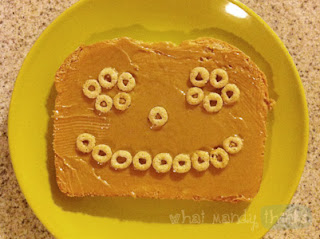 "What Mandy Thinks: Image of a peanut butter face on a plate: ""When your food smiles back at you, it'd better taste great."""