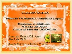 Certificado - Casa da Poesia - Poeta do Ano - 2010/2011