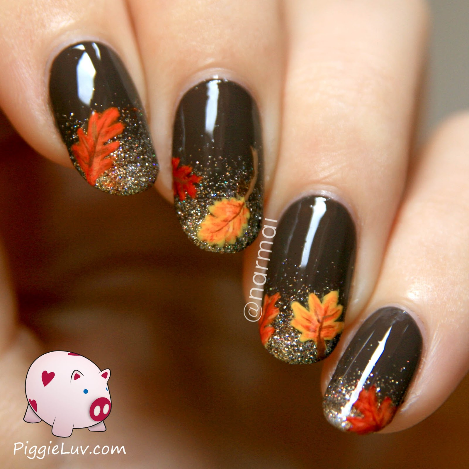 Fall Nail Art Autumn Leaves On Glitter Grant