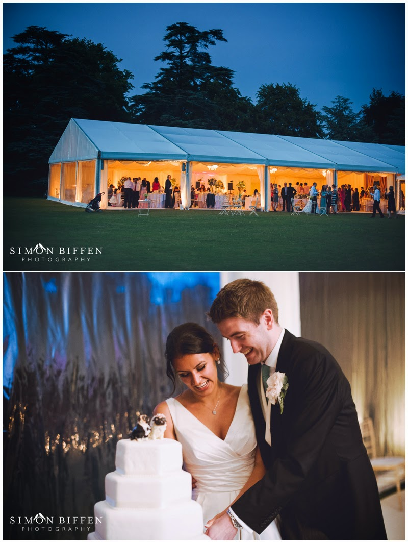 Evening reception at Polesdon Lacey marquee wedding