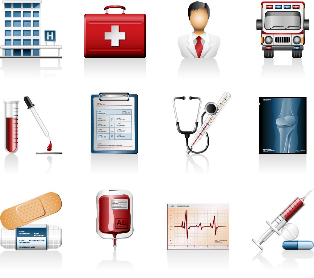 病院関連のクリップアート hospital icons vector イラスト素材