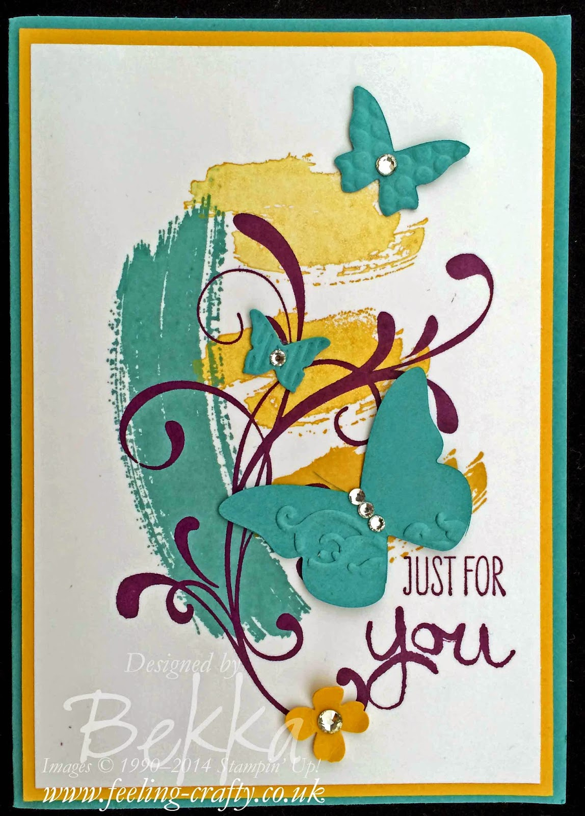 Work of Art Butterfly card by Stampin' Up! UK Independent Demonstrator Bekka  - get your Stampin' Up! goodies here