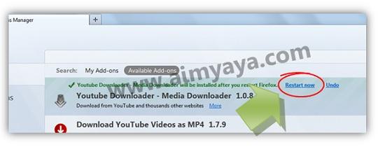 Gambar: Mengakhiri proses instalasi add ons dengan melakukan restart Mozilla Firefox