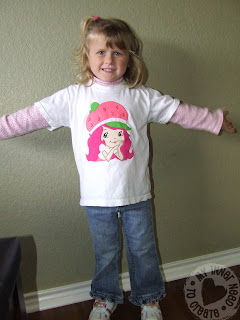 Girl wearing Strawberry Shortcake Applique T-Shirt