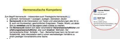 Screenshot der Kommentarfunktion innerhalb von Google Docs