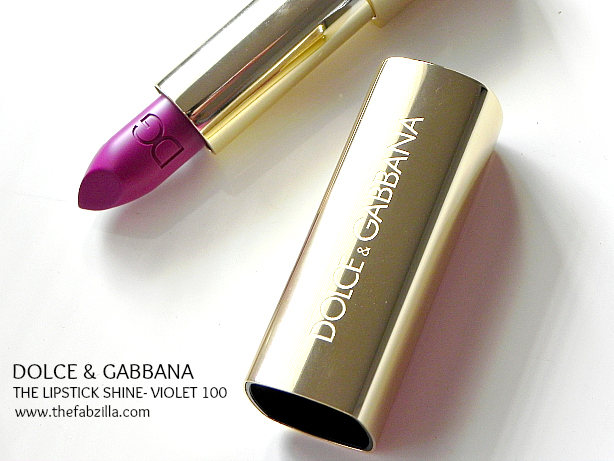dolce & gabbana the lipstick shine violet 100, review, swatch