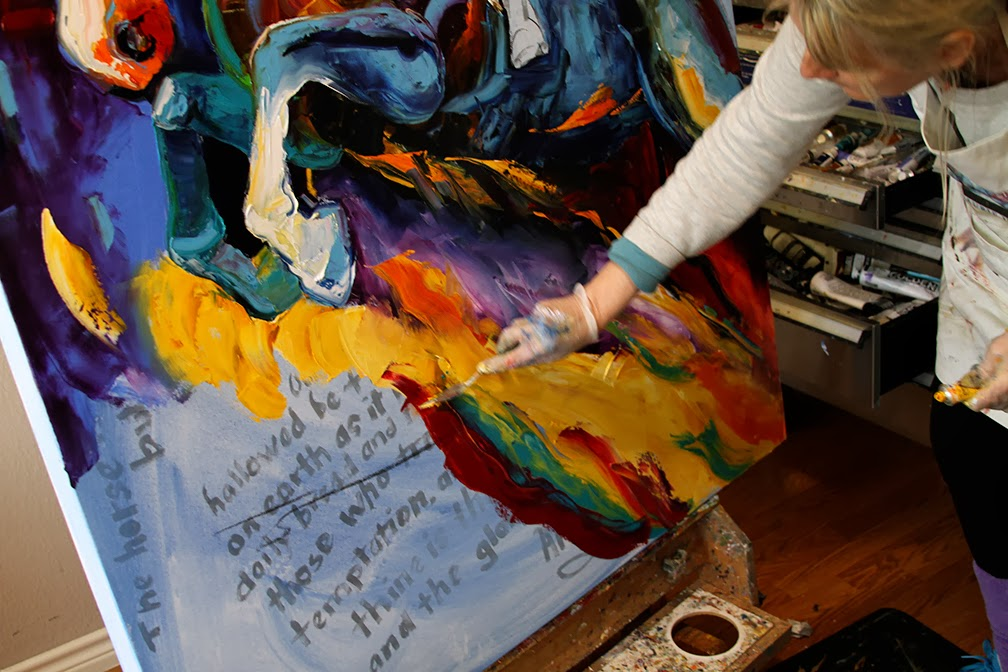 Contemporary Painters 2014 palette knife painters: bottom layering in this contemporary horse