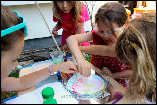 girls doing magic milk experiment