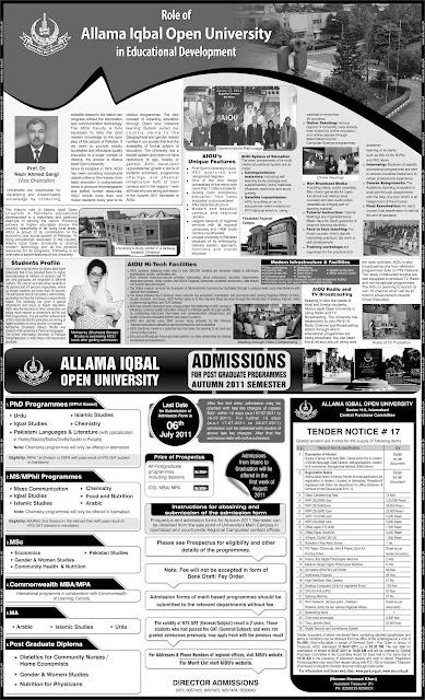 ALLAMA IQBAL OPEN UNIVERSITY: AIOU Admission English
