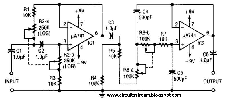 build a variable bandpass audio filter circuit diagram