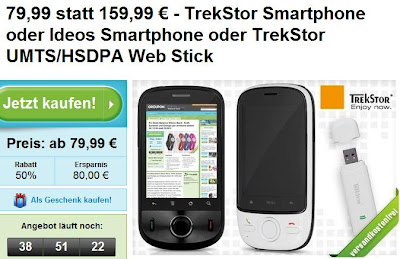 Groupon: TrekStor Smartphone (weiß/schwarz) für 79,99 Euro oder TrekStor Ideos für 99,99 Euro