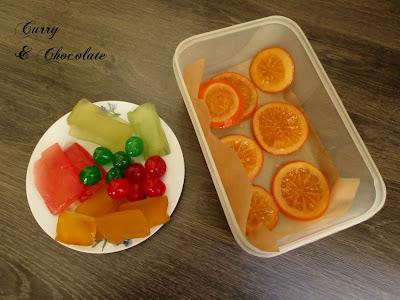 Fruta escarchada y naranjas confitadas para decorar roscón