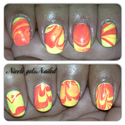 Neon Yellow and Pink Water Marble