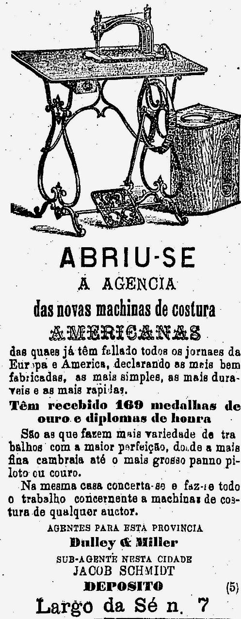 Propaganda de 1879 de loja que vendia máquinas de costura vindas dos Estados Unidos.