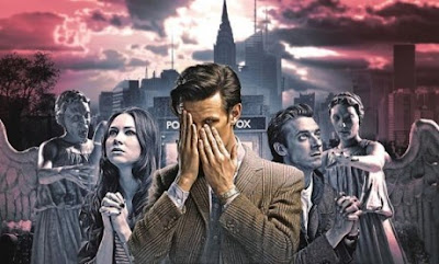 As Rory and Amy pray, the Doctor covers his face with his hands in Dr Who, Angels Take Manhattan publicity pic