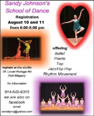 8-10/11 Dance Registration @ Sandy Johnson's