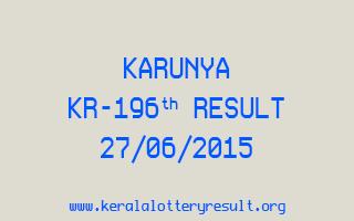 Karunya KR 196 Lottery Result 27-6-2015
